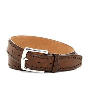 Cole Haan NWT Perforated Chocolate Leather Belt